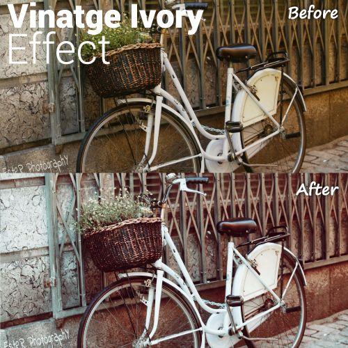 Photo editing with vintage ivory effect