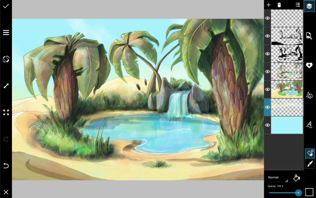 how to draw desert oasis step by step