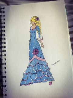 flamenca spanish dress pencil art sevillana