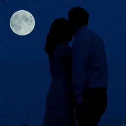 people moon night emotions silhouette