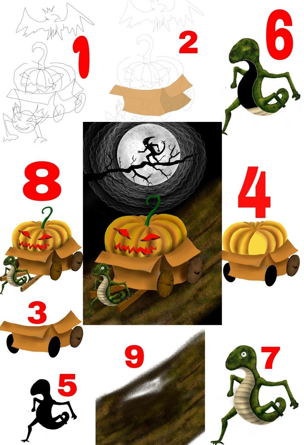 monster mash drawing steps